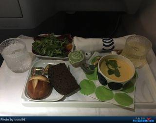 起飞后不久开始发餐,这是头盘,味道一般