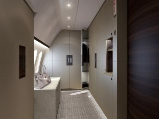 The master suite also includes this gigantic dressing room and walk-in closet. There's a refrigerator and safe as well in the suite. Kestrel Aviation Management