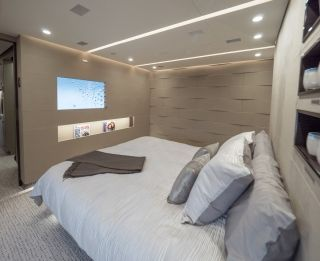 You'll immediately encounter the doors to its massive master suite. It is divided into several sections and designed to be totally independent from the rest of the plane. Kestrel Aviation Management