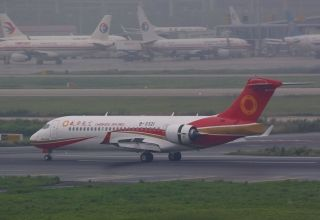 The ARJ21 performing flight EU6679 with 70 passengers onboard touched down at Shanghai Hongqiao International Airport at 11:37 a.m. on June 28.