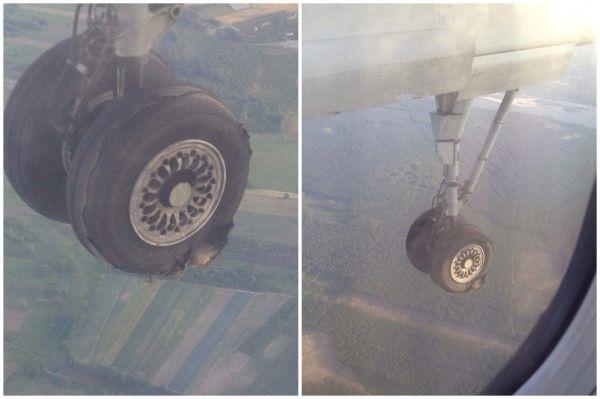 飞机起飞后,乘客发现飞机轮胎爆了!