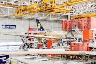 First Lufthansa A350-900 in final assembly line in Toulouse