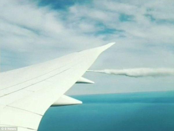 美联航一客机起飞遭鸟击 乘客拍到空中放油