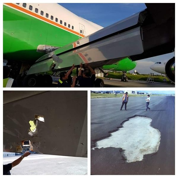 坑!长荣747襟翼被菲律宾机场跑道沥青砸穿