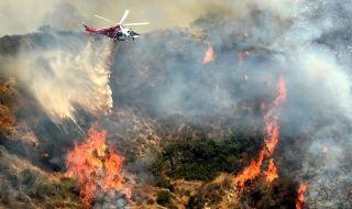 【图集】美国好莱坞山发生山火 直升机出动灭火