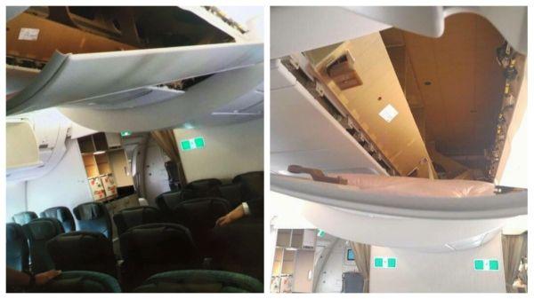 旅客不信无行李箱 硬扯下国泰A350天花板