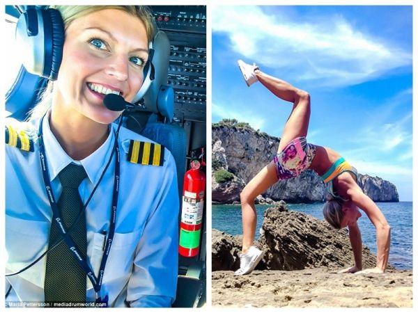 美女飞行员晒自拍走红 展高难度瑜伽秀身材