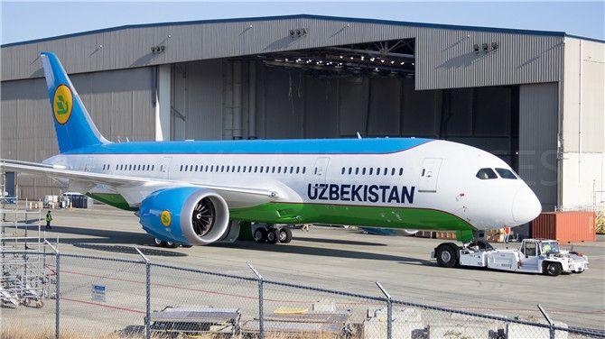 高清:乌兹别克斯坦航空首架787完成喷涂