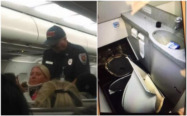 还敢不系安全带?飞机马桶都被强颠簸掀翻了!