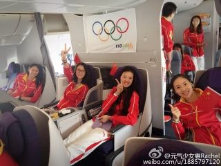 Golden girls of China's woman volleyball team are flying home from ‪‎Rio‬ on board Air China flight CA604.