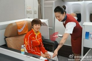 Chinese Table Tennis star Ding Ning on board the CA604 flight. Photo by Air China