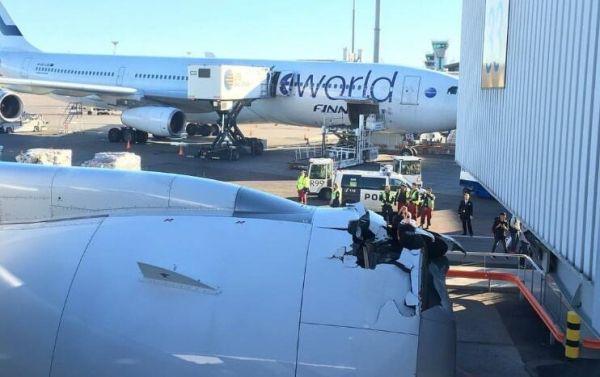 芬航全新客机与登机桥碰撞 发动机整流罩损坏