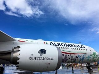"""Aeromexico unveiled its first Boeing 787-9 Dreamliner in """"Quetzalcoatl livery. Photo by Boeing"""