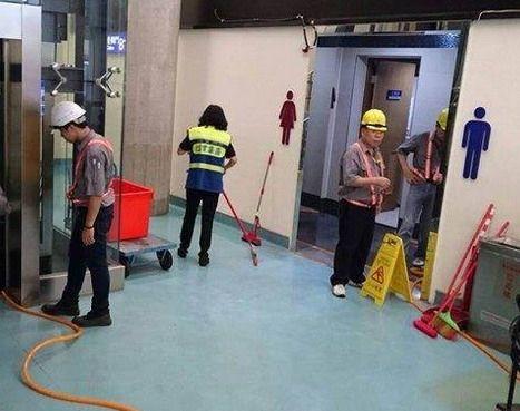 桃园机场女厕所爆水管 水淹候机楼及电梯