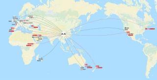 成都机场已开通及正式签约的洲际航线网络图