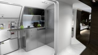 When you walk into the front of the plane, you will see an area with a kitchen as well as some additional seating. The kitchen area has a mini bar and comes with an electric stove top. Mercedes-Benz