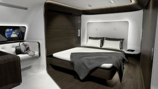 Lastly, there's the master suite featuring a king-sized bed. Mercedes-Benz