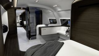 There's also a free-standing shower sectioned off in the master suite. Mercedes has yet to reveal the approximate price of a plane with this customized interior as well as when we could potentially see it. Mercedes-Benz