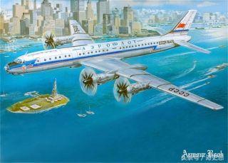 飞行在纽约的苏联民航图-114客机,模型画面