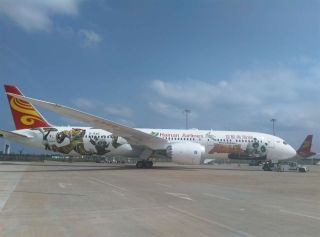 Hainan Airlines unveiled the first Kung Fu Panda livery on a Boeing 787-9 Dreamliner. Photo by He Beibei