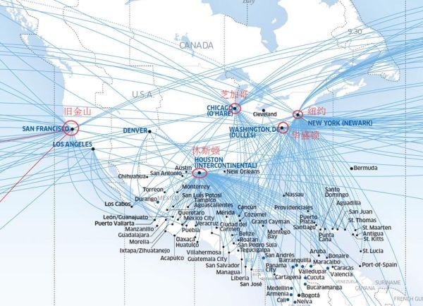 美联航国际航线网络结构图