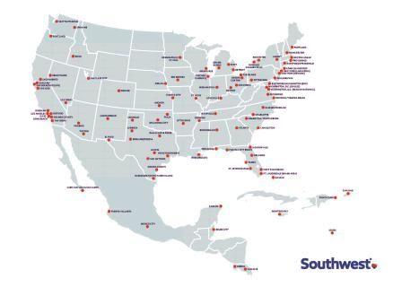美国西南航空航点图(更新至2016年5月)