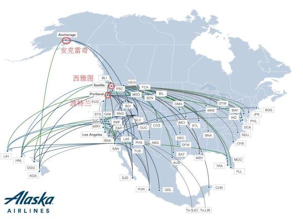阿拉斯加航空航线网络结构