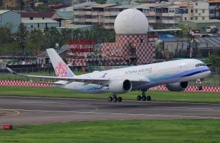 "China Airlines Airbus A350-900, B-18901, in ""Mikado Pheasant"" livery/Photo by CARNOC.com user ""AJie"""