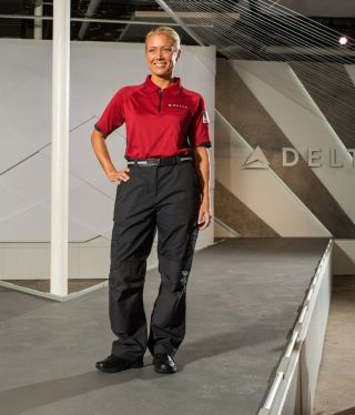 "Delta's new uniform design for ""below wing"" (ground) customer service workers. Photo credit: Delta"
