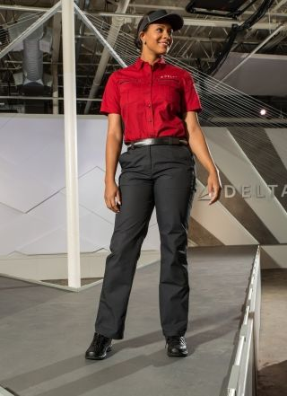 "Delta's new uniform design for ""below wing"" (ground) airport customer service workers. Photo credit: Delta"