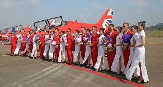 The Red Arrows were welcomed to China after arriving at Zhuhai on October 22. Photo by The Red Arrows