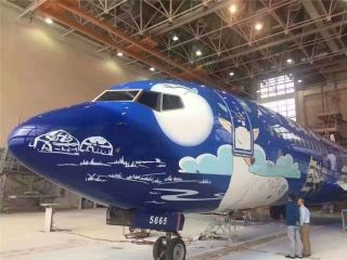 China United Airlines unveiled an eye-catching livery on a Boeing 737-800 aircraft (B-5665).