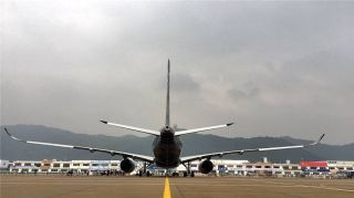 Airbus' A350 XWB test aircraft (MSN002) arrived at Zhuhai Jinwan International Airport at 9:16 a.m. on October 29, for its debut at China Airshow.