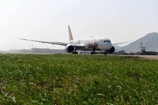 Boeing is displaying its flagship 789-9 Dreamliner in Kung Fu Panda livery at this year's Airshow China in Zhuhai.