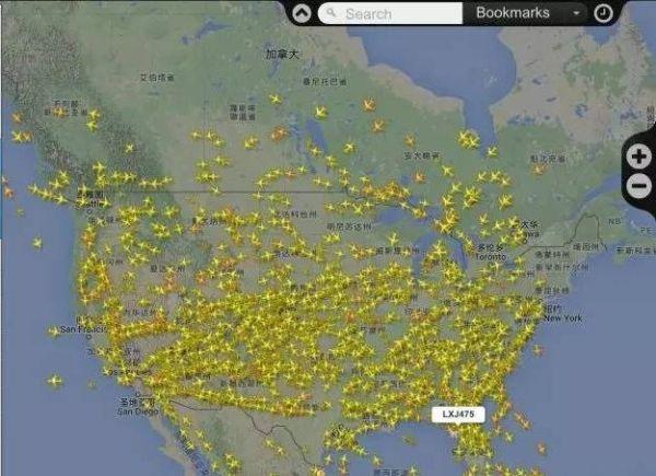 北美区域航班分布图