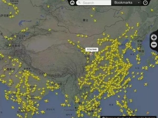 中国东部航班分布图