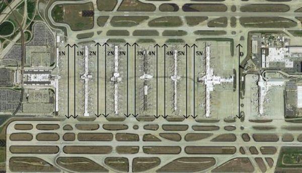 亚特兰大机场卫星式航站楼布局(卫星厅之间设置两条通道)
