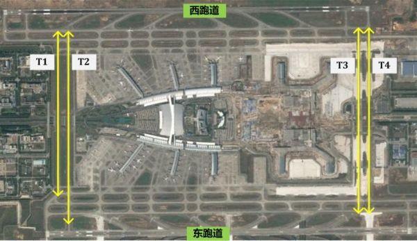 白云机场指廊式航站楼布局(t1-t4是两侧跑道的联络滑行道)图片