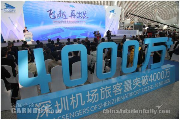 深圳机场年旅客吞吐量首破40000000人次!