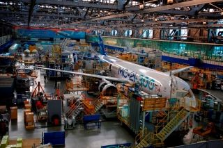 MC-21-300-0001 airliner in the final assembly shop.