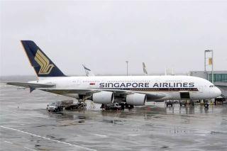 A380环球第6段阿布扎比飞纽约 图为洛杉矶机场新加坡航空A380 图/晨