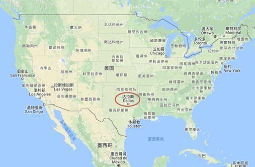 达拉斯在美国版图中的位置。