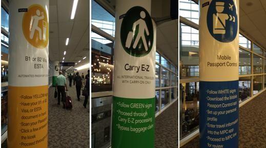 针对不同类型旅客的指示柱