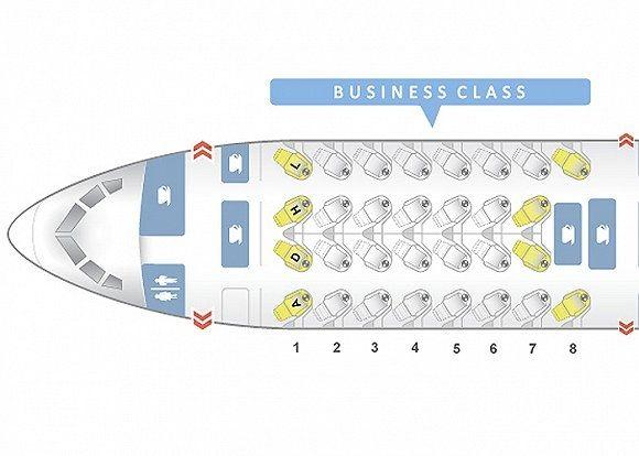 """美国航空波音787-9的商务舱座椅布局为标准的""""反鱼骨""""式"""