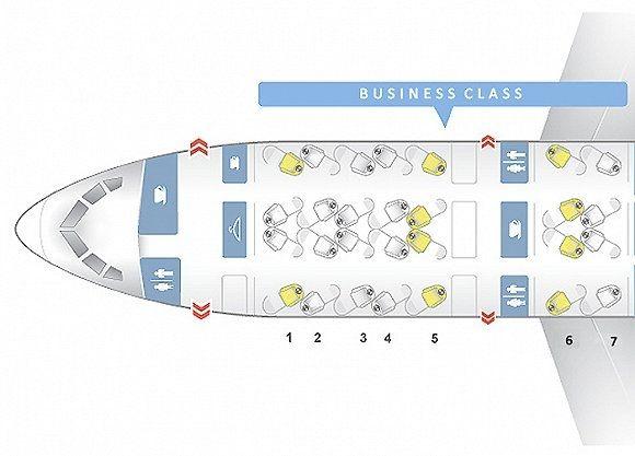 """美国航空波音787-8商务舱的独特""""倒座式反鱼骨""""设计"""