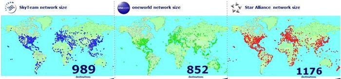 三大航空联盟航线网络枢纽图