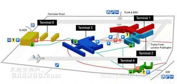 英国希斯罗国际机场有5个候机楼