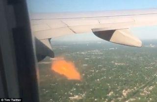 美联航飞机引擎被鸟撞击喷出火焰被迫返航