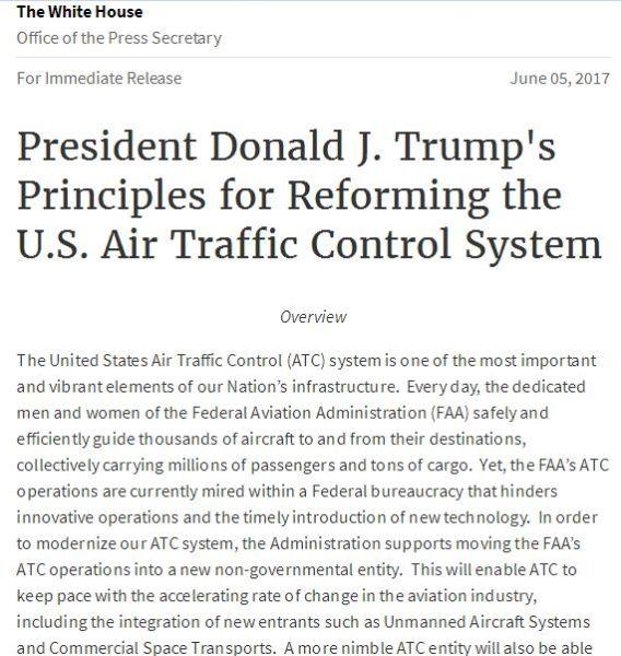 特朗普政府抛空管改革方案 欲私有化提升效率