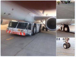 牵引杆断开,牵引车楔入科威特航空客机下面